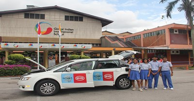 BYD e-6 electric car visits GIIS campuses