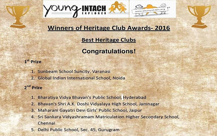 GIIS Noida bags the Heritage Club Award 2017 by INTACH