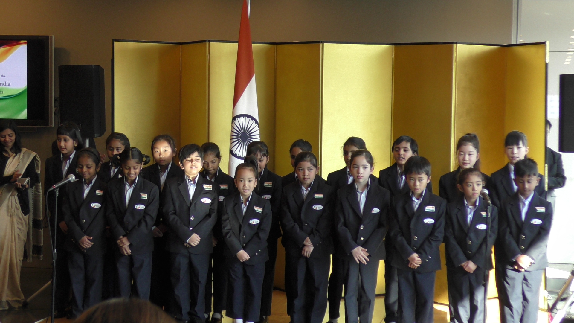 Students participate in flag hoisting at Indian Embassy on the occasion of Republic Day
