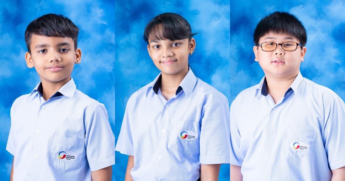 School portraits of the three GIIS Thailand winners from the 4th International Youth Festival.