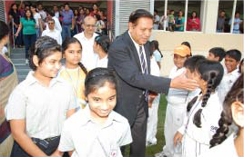 Mr. Borde fondly meets the future GIIS Cricketers