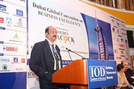 Mr B G Shenoy doing a presentation at the Dubai Global Convention on Business Excellence