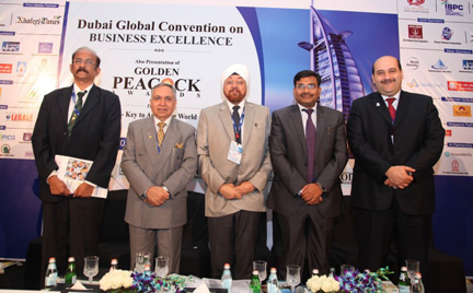 L to R – B G Shenoy, Director, GCEE, Singapore, Dr Ajit K Nagpal, Chairman & Director General, Amity Middle East Initiative, S P S Bakshi, Chairman & MD, Engineering Projects (India) Ltd, Anand Bardhan, IAS Counsellor, Community Affairs, Embassy of India, UAE and Dr Zeyad Mohamed El Kahlout, Quality & Excellence Advisor, Dubai Govt. Excellence Program, UAE