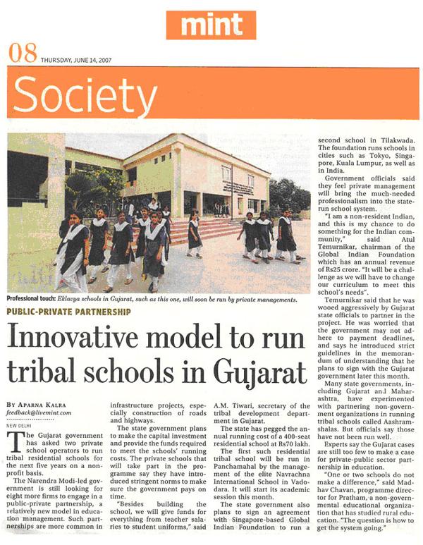 Innovative Model To Run Tribal Schools In Gujarat
